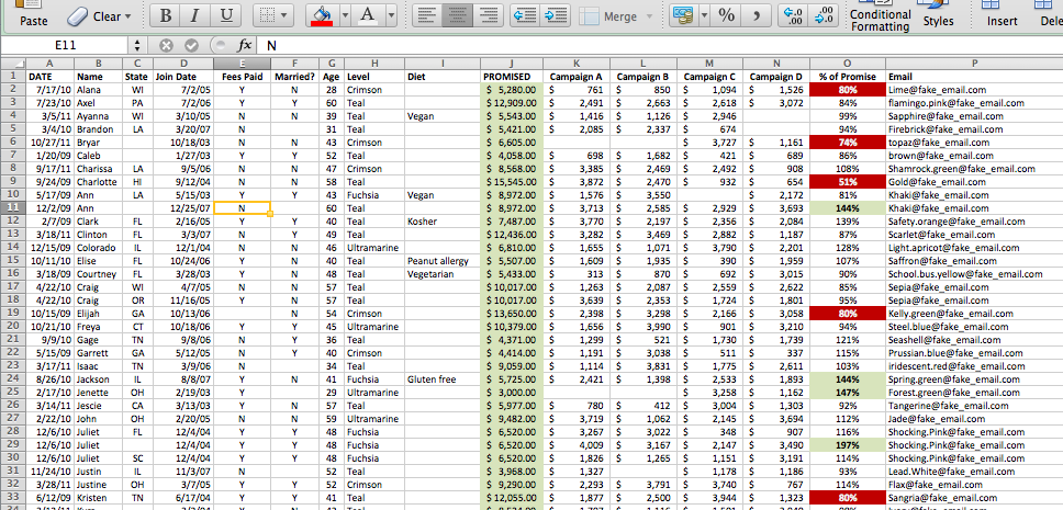 Pivot Table Example - Raw Data