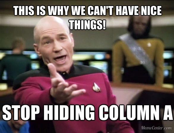 Don't Hide Column A